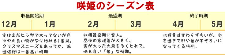 咲姫シーズン表